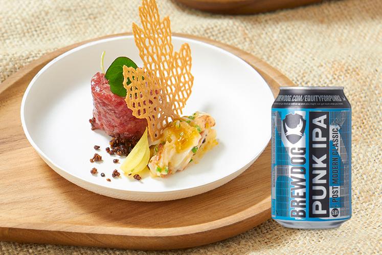 UHP kreeftenvlees, ossenworst en ganzenlever in combinatie met een Brewdog punk IPA