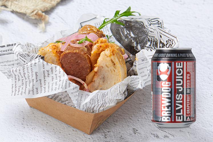 Beyond Sausage met Kimchi in combinatie met een Brewdog Elvis Juice