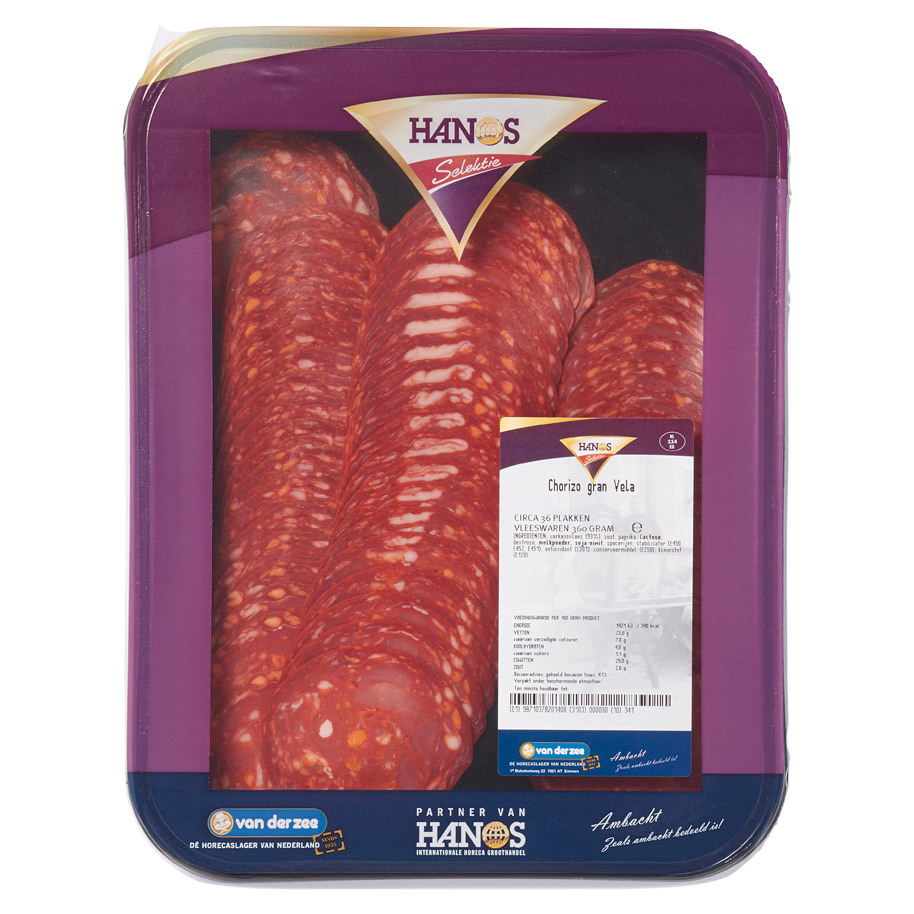 CHORIZO VELA SLICED CA. 60 SLABS