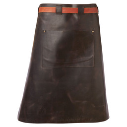 APRON LEATHER 60CM MENS DARK BROWN