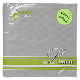 POINT2POINT NAPKIN 33CM 1/4 SILVER METAL