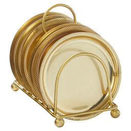 6 PLACEMATS 10CM IN HOLDER GOLD