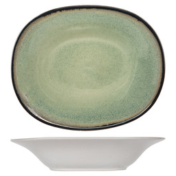 FEZ GREEN OVAL SOUP PLATE 17.5X21.5CM