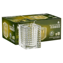 "RELIGHT HOLDER """"RIBBED"""" BX 6 TRANSPARENT"