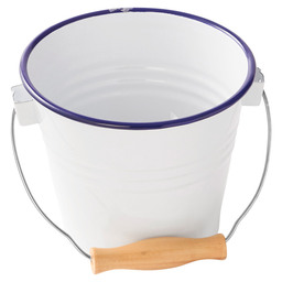 BUFFET PAIL  ENAMEL WOODEN HANDLE 16CM