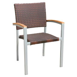 CENON-A ARMCHAIR SILVER -LEATHERL WICKER