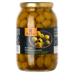 PITTED GREEN OLIVES HERBS GARLIC