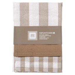 KEUKENDOEK 100% KITCHEN TAUPE/WIT