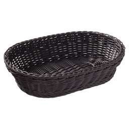 BASKET OVAL BLACK 32X23X7 CM