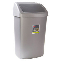 WASTE BIN SWING 50L SILVER / ANTHRACITE