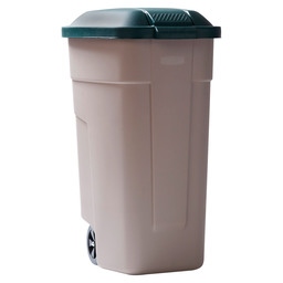 WASTE BIN PORTABLE 110L TAUPE-GREEN