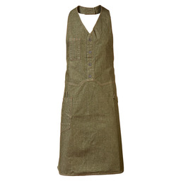 BIB APRON BISTRO GREEN DENIM  W100-L85
