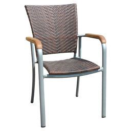 BAJA SILVER TERRACE CHAIR LEATHER LOOK-S