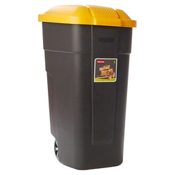 WASTE BIN PORTABLE 110L BLACK-YELLOW