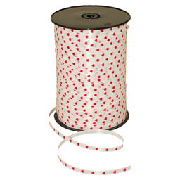 CURLY RIBBON POLY 5MM HEARTS WHITE / RED