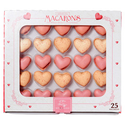 25 HEART-SHAPED MACARONS - RASPBERRY & V
