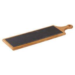 TRAY WOOD WITH SLATE 55X16 CM
