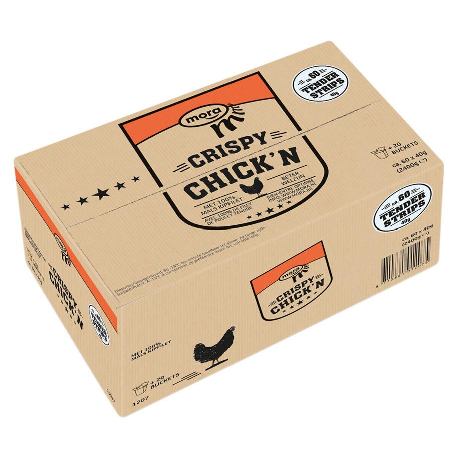 CRISPY CHICK'N STRIPS 40GR (INCL.BUCKET)