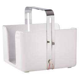SERVIETTE HOLDER WHITE MELAMINE