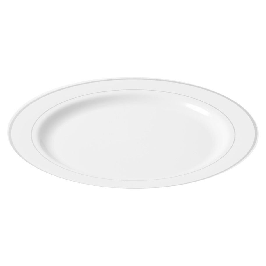 PLATE WHITE 228 MM WITH SILVER EDGE