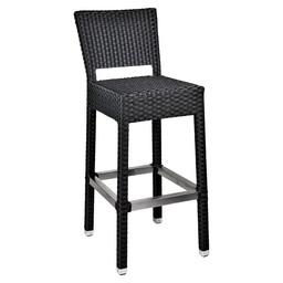 MEZZA BARSTOOL + BACK BLACK -5X5 WEAVING