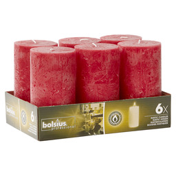 BLOCK CANDLE RUSTIC WINE RED 130/68