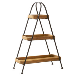 ETAGERE HOUT/METAAL 3-DELIG 71X43X103CM