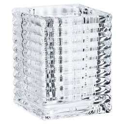 TEA LIGHT HOLDER RIBBED TRANSPARENT