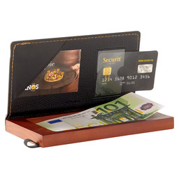 ACCOUNT HOLDER LEATHER MET COIN BOX
