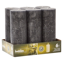BLOCK CANDLE RUSTIC BLACK 190/68