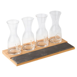 4 BEER GLASSES WOOD-SLATE TRAY S5