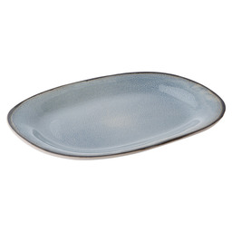 PLATE FLAT OVAL 24X31 CM FEZ BLUE