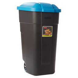 WASTE BIN PORTABLE 110L BLACK-BLUE