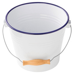 BUFFET PAIL  ENAMEL WOODEN HANDLE 22CM