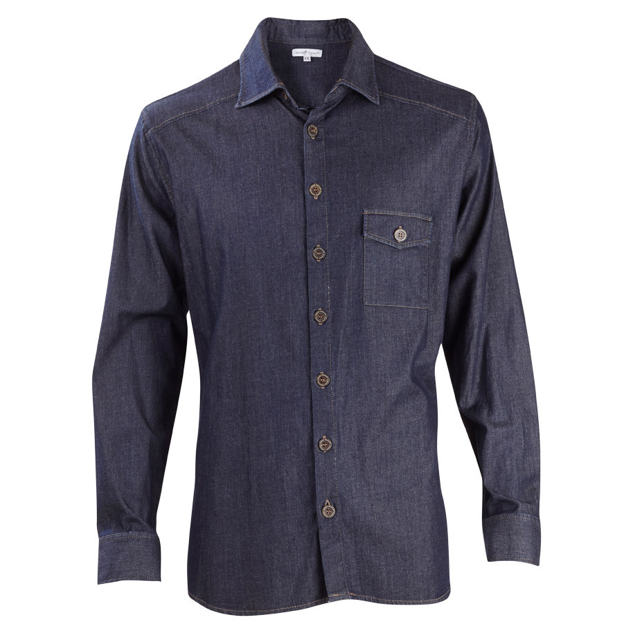 SHIRT MENS DENIM BLUE SZ L