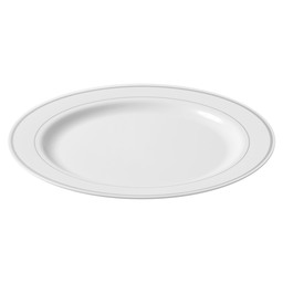 PLATE WHITE 260 MM WITH SILVER EDGE