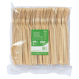 SNACK FORK BAMBOO 120MM 100PCS BAG